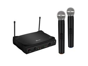 UHF Wireless Microphone System, EIVOTOR Dual Channel Handheld Wireless Microphone with Professional Karaoke Receiver and 2 Handheld Dynamic Mics Set, for Home Party, KTV, Meeting, Wedding, Church