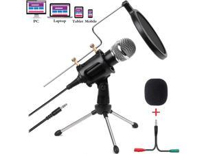 Condenser Microphone for Computer Studio Recording Podcast Microphone with Pop Filter 3.5mm Plug and Play PC Phone Microphone for Skype YouTube Voice Overs Gaming Mic