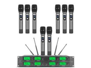 Wireless Microphone System 8 Channel Microphones Pro Audio UHF 8 Handheld Mic Karaoke DJ Mic Karaoke System 8 Whole Metal Mic Karaoke System Church Speaking Conference Wedding Party