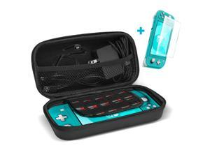 ProCase Carrying Case for Nintendo Switch Lite with Screen Protector, Portable Travel Carry Case Hard Shell 2 in 1 Accessories Kit for Nintendo Switch Lite 2019 with 10 Game Cartridges -Black