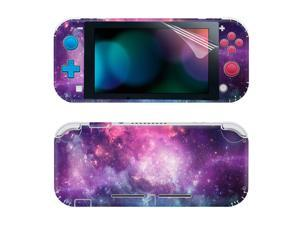SKINOWN Full Set Faceplate Skin Decal Stickers for Switch Lite with 2Pcs Screen Protector (Purple Starry)