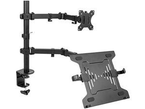 "Full Motion Monitor + Laptop Desk Mount Articulating Double Center Arm Joint VESA Stand | Fits 13"" to 32"" Screen (STAND-V102C)"