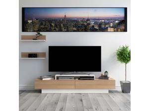 Decorotika Lusi 71'' Wide Modern TV Stand and Media Console for TVs up to 80'' with Two Cabinets and Accent Wall Shelves - White and Teak