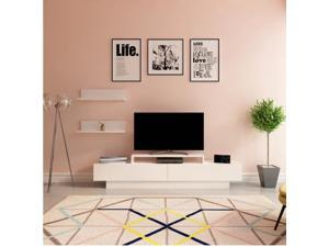 Decorotika Lusi 71'' Wide Modern TV Stand and Media Console for TVs up to 80'' with Two Cabinets and Accent Wall Shelves - White