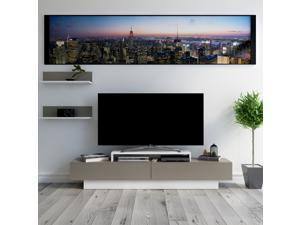 Decorotika Lusi 71'' Wide Modern TV Stand and Media Console for TVs up to 80'' with Two Cabinets and Accent Wall Shelves - White and Coffee