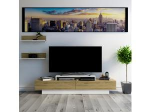 Decorotika Lusi 71'' Wide Modern TV Stand and Media Console for TVs up to 80'' with Two Cabinets and Accent Wall Shelves - White and Oud Oak