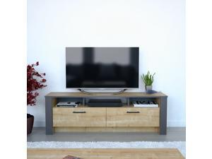 Decorotika Manhattan 59'' Wide Modern TV Stand and Media Console for TVs up to 68'' with Cabinets and Open Shelves - Sapphire Oak & Dark Grey