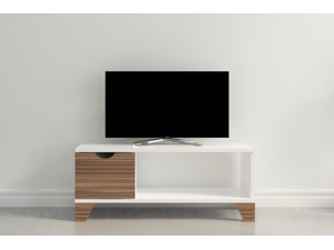 "Decorotika Osco 35"" Wide Modern TV Stand for TVs up to 40'' - Ideal for Small Living Room or Kids Room with Various Color Options - White and  Walnut"