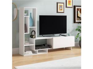 "Decorotika Pegai 62'' Wide Modern TV Stand and Entertainment Center for TVs up to 55"" with Cabinet and Side Shelf/Bookcase - White"