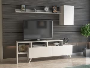 Decorotika Polo 58'' Wide Modern TV Stand and Entertainment Center with Cabinets, Open and Wall Shelves for TVs up to 65'' - White
