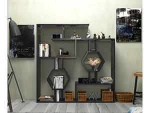 """Decorotika Tamara 53"""" Tall Modern Geometric Bookcase with Two Hexagon Honeycomb Open Shelves in Various Color Options - Black"""
