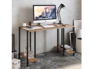 Decorotika Reader 49'' Wide Metal Wood Computer Desk with Open Shelves