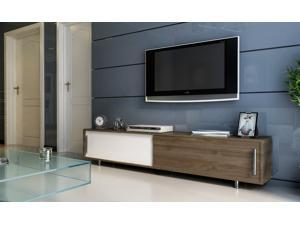 Decorotika Classy 71'' Wide Modern TV Stand and Media Console for TVs up to 80'' with Two Large Cabinets - Walnut and White