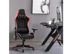 W641 Gaming Chair Office Chair High Back Computer Chair PU Leather Desk Chair Racing Executive Ergonomic Swivel Task Chair, Adjustable armrest, with Headrest and Lumbar Support (Black&Red)