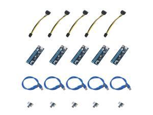 5 PCS 6 Pin BTC Riser Card USB 3.0 PCI-E Express 1x To 16x Extender Adapter Power Cable Molex Power For BTC Miner Machine,blue