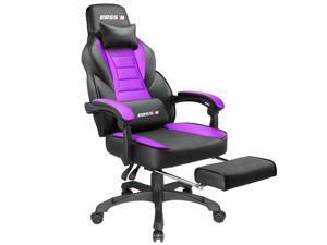 BOSSIN Racing Style Gaming Chair Computer Desk Chair with Footrest and Headrest, Ergonomic Design, Large Size High-Back E-Sports Chair, PU Leather Swivel Office Chair (Purple)
