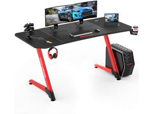 BOSSIN 63 Inch Ergonomic Gaming Desk, Z-Shaped Office PC Computer Desk with Large Mouse Pad, Gamer Tables Pro with USB Gaming Handle Rack, Stand Cup Holder&Headphone Hook(63 inch, Red)