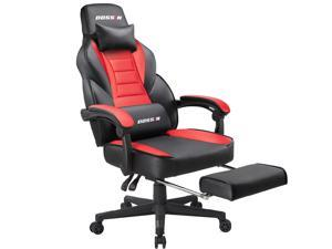 BOSSIN Racing Style Gaming Chair Computer Desk Chair with Footrest and Headrest, Ergonomic Design, Large Size High-Back E-Sports Chair, PU Leather Swivel Office Chair (Red)