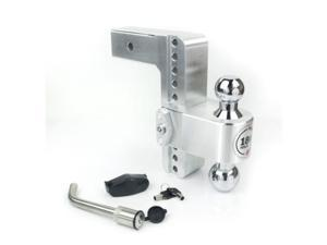 """Weigh Safe Adjustable 8"""" Drop Hitch Turnover Ball with 2.5"""" Shank and Locking Hitch Pin (Chrome Ball)"""