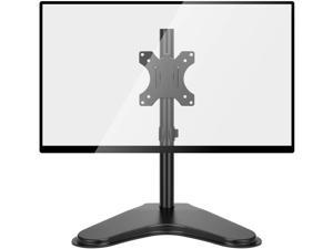 HUANUO Single LCD Monitor Stand, 2020 Upgraded Free Standing VESA Desk Mount fits One Screen up to 32 inches,17.6 lbs. Adjustable Height, Tilt, Swivel, Rotation