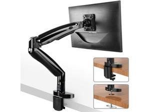 HUANUO Monitor Mount Stand - Long Single Arm Gas Spring Monitor Desk Mount for 22 to 35 Inch Computer Screens Height Adjustable VESA Bracket with Clamp or Grommet Mounting Base - Holds 6.6 to 19.8 lbs