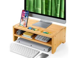 2-Tier Bamboo Desk Monitor Riser Stand - Desk Storage Organizer for Home and Office Computer Desk Laptop Cellphone Printer Stand Desktop Container by HUANUO