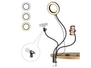 """Amada Ring Light for Laptop, 6"""" Selfie Light with Phone Holder mic Stand and Webcam Stand, Flexible Gooseneck Arm for Selfie, Live Stream, Makeup and YouTube"""