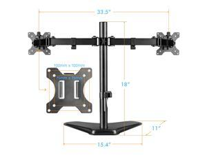 """HUANUO HNCM1 Swivel Dual Monitor Mount Free Standing for 13"""" - 32"""" Screens and Heavy for 17.6 lbs. per Arm, Swivel and Tilt Adjustable"""