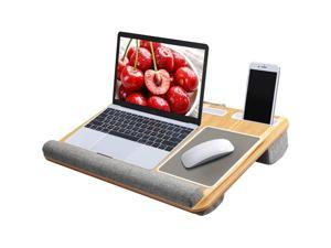 """Lap Desk - Laptop Lap Desk with Wrist & Mouse Pad for Notebook, MacBook, Tablet, Laptop Stand with Tablet, Pen & Phone Holder, Fits up to 17"""" Laptop by HUANUO (Wood Grain)"""