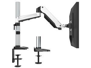 HUANUO Premium Gas Spring Single Arm Monitor Desk Mount Fits 17 to 32 Inch Computer Screens, Height Adjustable Aluminum VESA Bracket with C Clamp and Grommet Kit