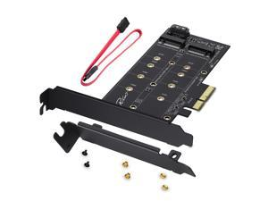 Rivo Dual M.2 to PCIe 3.0  X4 and SATA III Adapter Card - Add M.2 SSD Devices to PC or Motherboard, Supports 1 M.2 PCIe 3.0 SSD (M-Key) and Second M.2 SATA III (B Key) SSD