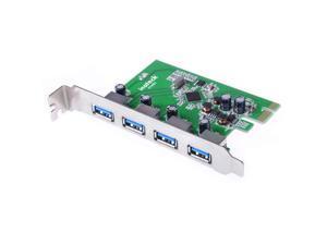 Inateck 4 Ports PCI-E to USB 3.0 Expansion Card Interface USB 3.0 4-Port Express Card Desktop compatible Windows XP/7/8/10, Mini PCI-E USB 3.0 Hub Controller Adapter,