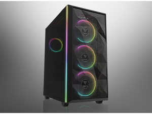 Gamdias ATHENA M2 Gaming PC case high airflow mesh, tempered glass side panel, ATX