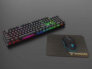 Gamdias Hermes P1B Mechanical Gaming Keyboard with Blue Switches, mouse, and mouse pad.