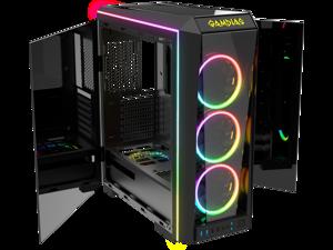 Gamdias TALOS P1A, tempered glass high air flow ATX PC case, 3x 120mm ARGB fans w/ 5v 3pin sync
