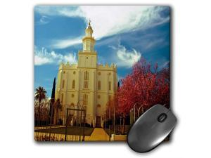 St. George LDS Temple, Utah, Vivid Reds and Blue - Mouse Pad, 8 by 8 inches (mp_47504_1)