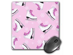 3dRose LLC 8 x 8 x 0.25 Inches Mouse Pad, Figure Skating - Skate and Snowflake Print - Pale Pink (mp_77480_1)