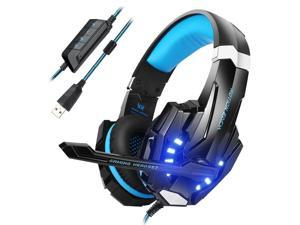 Mengshen USB Gaming Headset, 7.1 Channel Surround Sound Over Ear Headphones with Microphone, Volume Control and LED Light for Computer PC Mac Laptop - G9100 Blue