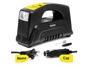 Portable Tire inflator with Digital Display for Home (110V) and Car (12V) - 30 Litres/Min