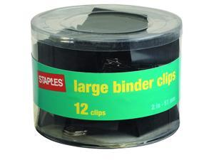 """Staples; Large Metal Binder Clips, Black, 2"""" Size with 1"""" Capacity"""