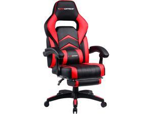 GTPOFFICE Gaming Chair Racing Style Office Swivel Computer Desk Chair Ergonomic Conference Executive Manager Work Chair PU Leather High Back Adjustable Task Chair with Lumbar and Padded Footrest GTF39