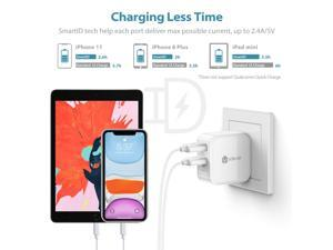iClever BoostCube 2nd Generation 24W Dual USB Wall Charger with SmartID Technology, Foldable Plug, Travel Power Adapter for iPhone Xs/XS Max/XR/X/8 Plus/8/7 Plus/7/6S/6 Plus Tablet