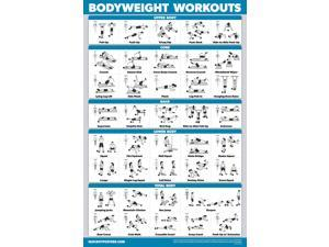 """QuickFit Bodyweight Workout Exercise Poster - Body Weight Workout Chart - Calisthenics Routine - Double Sided (Laminated, 18"""" x 27"""")"""