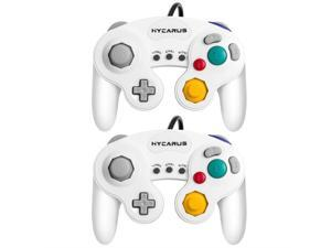 Gamecube Controller, Hycarus 2 Packs White Controller with Turbo and Slow Functions for Gamecube and Wii, Compatible with Nintendo Switch, Wii U and PC (Gamecube Controller Adapter Required)