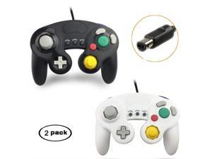 GameCube Controller Compatible with Nintendo Switch /Wii U/Wii/PC, 2 Packs Classic Wired Gamecube Controller for Switch PC Wii u with Turbo Function(Black and White)