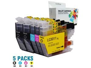 Compatible LC3011 Ink Cartridge Replacement for Brother LC-3011 LC3011 Ink Cartridge for Brother MFC-J491DW MFC-J497DW MFC-J690DW MFC-J895DW Printer(2 Black,1 Cyan,1 Magenta,1 Yellow) 5-Pack