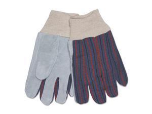 1040 Leather Palm Glove, Gray/White, Large, Dozen
