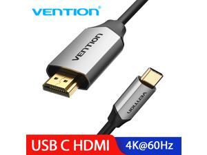 USB C to HDMI Cable for Home Office | 6ft 4K@60Hz, Vention USB Type C to HDMI Cable [Thunderbolt 3 Compatible] for MacBook Pro 2020/2019, MacBook Air/iPad Pro 2020, Surface Book 2, Galaxy S20 - Silver
