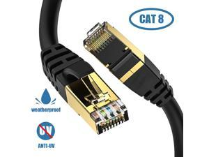 Cat8 Ethernet Cable, Outdoor&Indoor, 15FT Heavy Duty High Speed 26AWG Cat8 LAN Network Cable 40Gbps, 2000Mhz with Gold Plated RJ45 Connector, Weatherproof S/FTP UV Resistant for Router/Gaming/Modem
