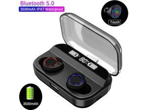 RABMIV X11 TWS Wireless Earbuds, Bluetooth 5.0 Headphones 105H Playtime with 3500 mAh Charging Case [As Power Bank], Stereo Auto Pairing in-Ear Bluetooth Earphones with Mic Wireless Headset - Black